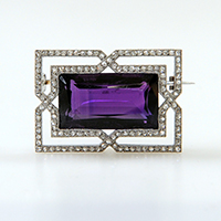 Amethyst and diamond set brooch - £3500