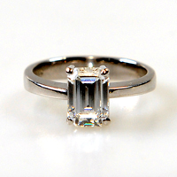Emerald cut diamond set ring - £8000