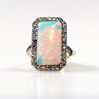 Opal and Diamond Cluster Ring - £1500