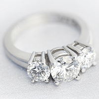 Three stone diamond ring set in platinum - £7,500
